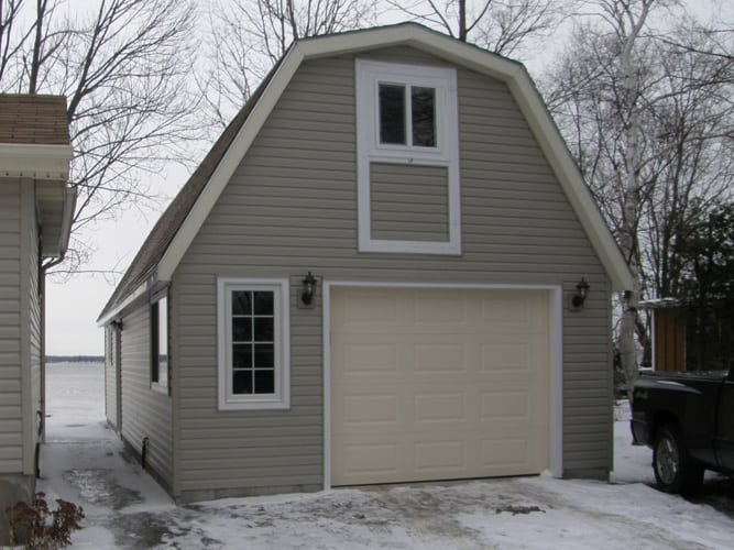 Custom build garage with siding