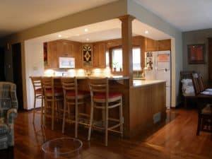 well lit pot light kitchen bar renovation