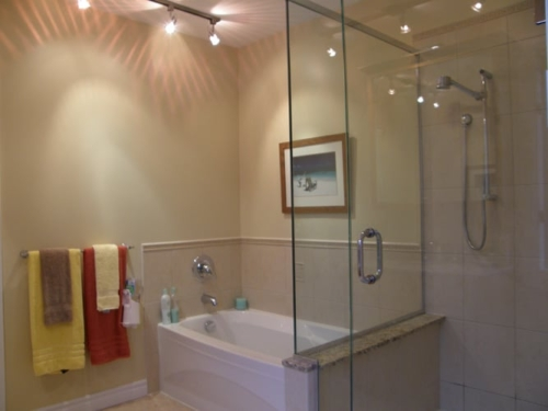 Bathroom renovation with tub and glass shower